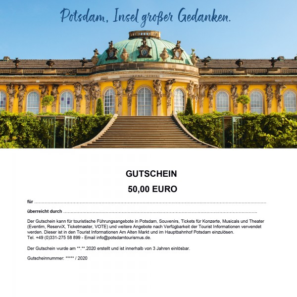 Gutschein 50 €   Artikel   Potsdam Marketing und Service GmbH